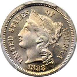 Image of 1888 3cN PCGS/CAC Proof 67