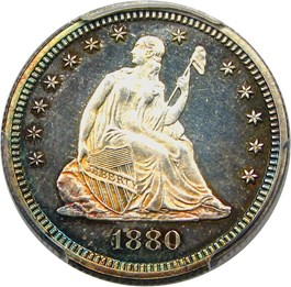 Image of 1880 25c PCGS/CAC Proof 64 CAM
