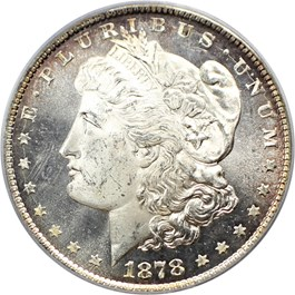 Image of 1878 8TF $1 PCGS/CAC MS63 (VAM-5, Doubled RIB)