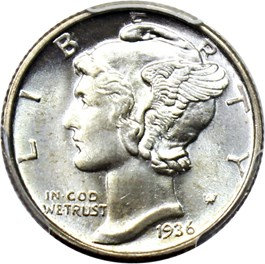 Image of 1936-D 10c PCGS/CAC MS67 FB