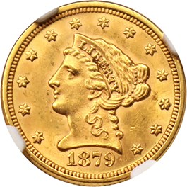 Image of 1879 $2 1/2 NGC MS62