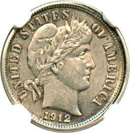 Image of Mint Error: 1912-S 10c NGC AU55 (Partial Collar)