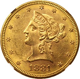 Image of 1881-S $10 NGC MS62
