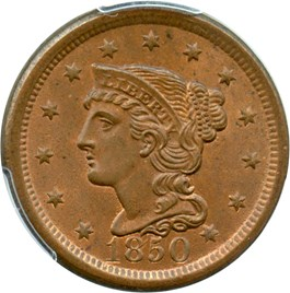 Image of 1850 1c PCGS/CAC MS65 RB