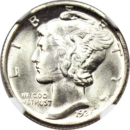 Image of 1936-D 10c NGC/CAC MS65 FB