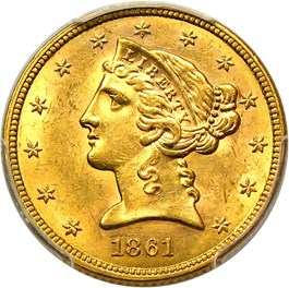 Image of 1861 $5 PCGS/CAC MS63