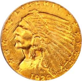 Image of 1929 $2 1/2 PCGS AU55 (OGH)
