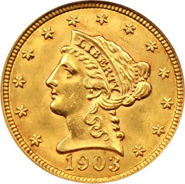 Image of 1903 $2 1/2 NGC/CAC MS62