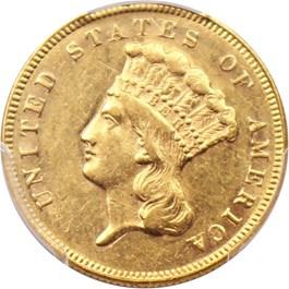Image of 1874 $3 PCGS/CAC AU55