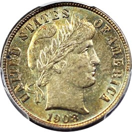 Image of 1908-S 10c PCGS/CAC MS64