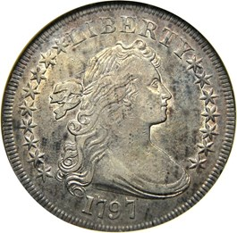 Image of 1797 $1 NGC/CAC XF45 (9x7 Stars, Large Letters)