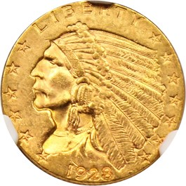 Image of 1928 $2 1/2 NGC/CAC MS63
