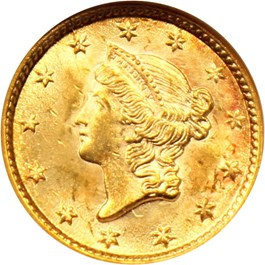 Image of 1854 G$1 NGC MS63 (Type 1)