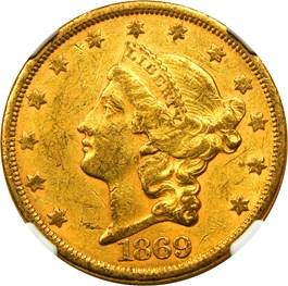 Image of 1869-S $20 NGC AU55