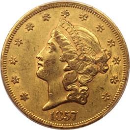 Image of 1857 $20 PCGS/CAC AU55