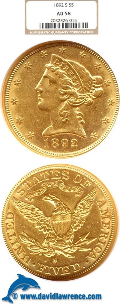 Image of 1892-S $5  NGC AU58