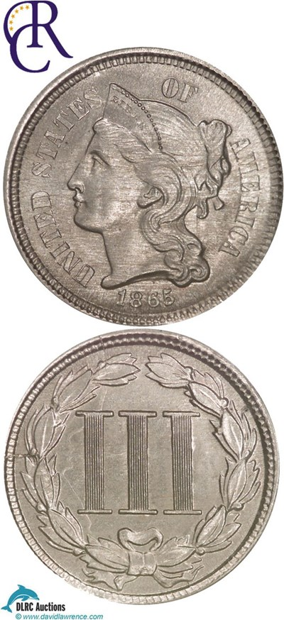 Image of 1865 3cN  NGC MS64  ex: Richmond Collection